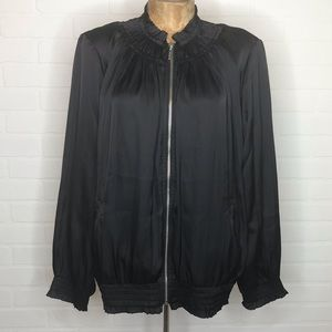 NWT Chicos Bomber Jacket Sz L Black Zip Up